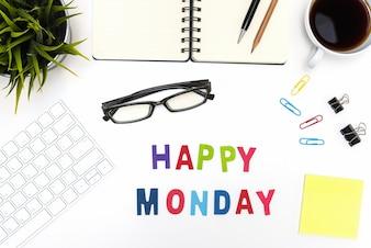 Mesa, escritório, tabela, feliz, segunda-feira, palavra