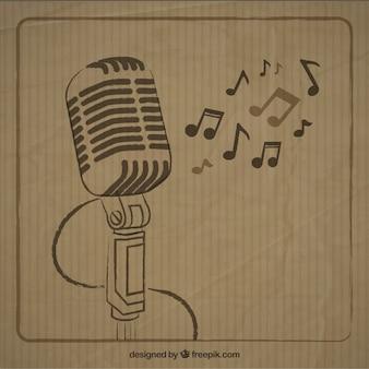 Microfone esboçado no estilo retro