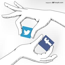 Mídia social amizade conceito vetorial
