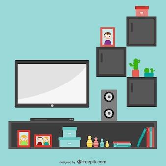 Minimalista sala de estar com tv