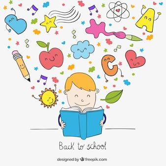 Miúdo que lê uma ilustração de livro