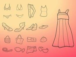 Moda mulheres vestir desenhos vetoriais