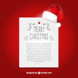 Modelo de carta de Natal com chapéu de Papai Noel