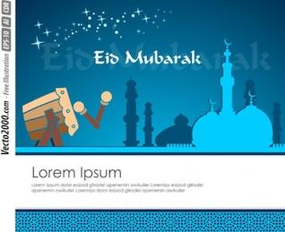 modelo de cartão azul fresco saudação para Eid Mubarak