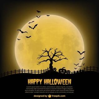 Modelo de cartaz dia das bruxas feliz com a lua