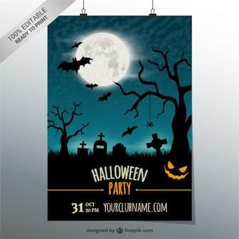 Modelo de cartaz partido editável para o dia das bruxas