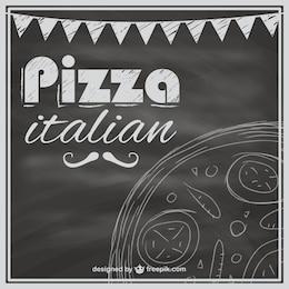 Modelo de menu de pizza negro