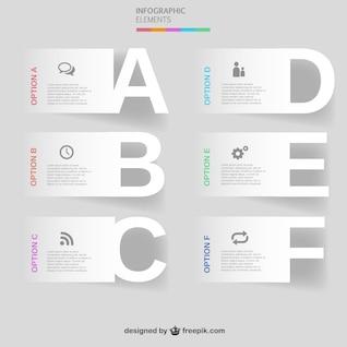Modelo de opções de letras vetor ingographic