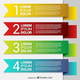 Modelos de banner colorido do origami