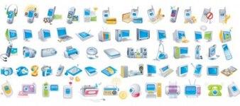 Modernos dispositivos electrónicos ícone do logotipo do vetor