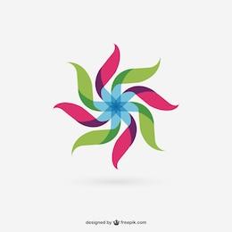 Moinho de vento abstrato colorido