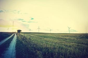 Moinhos de vento no campo.