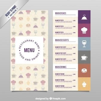 Molde do menu com ícones