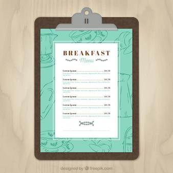 Molde do menu do café da manhã