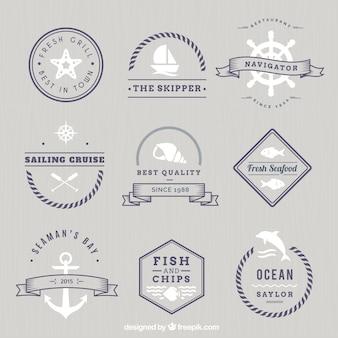 Monocromático emblemas náuticas