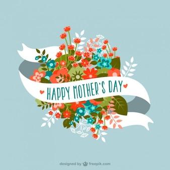 Dia flores da mãe bouquet cartão de fita