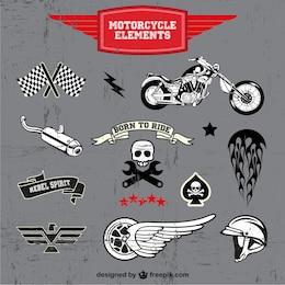 Motocicleta logos livre vetor definido