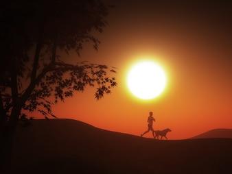Mulher que faz o esporte no por do sol