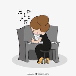 Mulher tocando piano dos desenhos animados