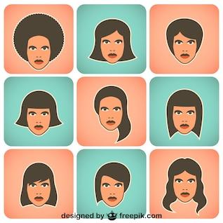 Mulheres coleção de personagens de vetores
