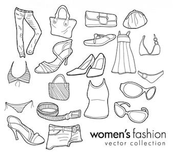 mulheres doodles moda