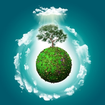 mundo verde com um fundo da árvore