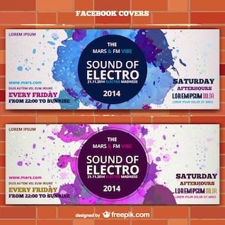 Música electro convite bilhete bandeira mockup