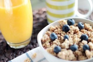 Musli e Blueberry café da manhã