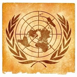 Nações Unidas emblema grunge sépia