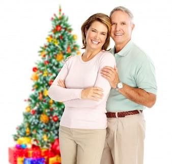 Natal mãe árvore filho filha pequena