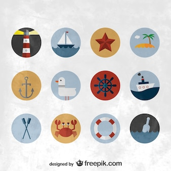 ícones lisos náuticas definir