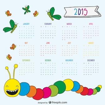 Desenho agradável verme e borboletas calendário 2015