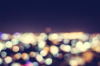 Noite da cidade com efeito bokeh