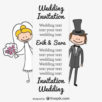 Noiva eo noivo caricatura casamento