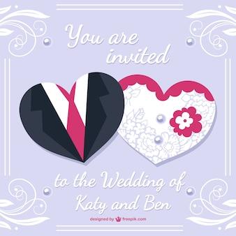 Noiva eo noivo cartão de casamento desing