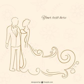Noivo e noiva outline