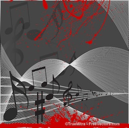 Notas musicais em que flui stave com splatter vermelho