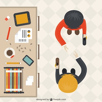 Trabalhadores de escritório dos desenhos animados