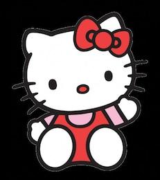 Olá Kitty com curva vermelha