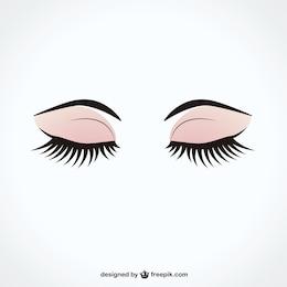 Olhos fechados, com longos cílios