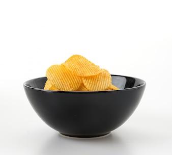 Ondulado, alimento, dourado, branca, fino