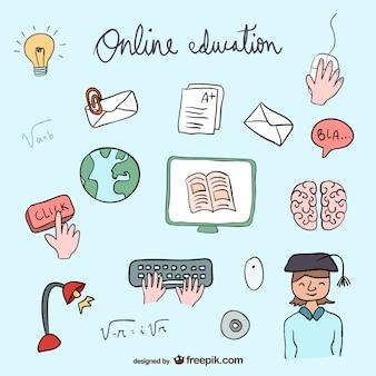 Coleção dos ícones de educação on-line