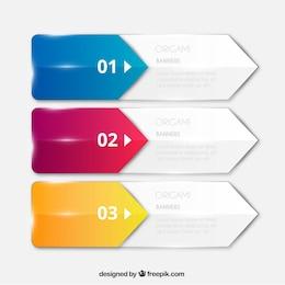 Origami banners embalar