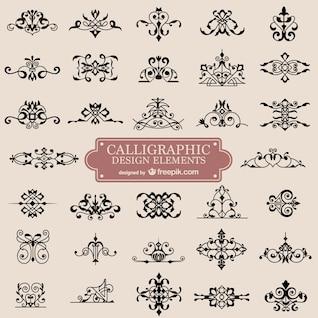 Ornamentos caligrafia retro redemoinho