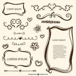 Ornamentos caligráficos amor e quadros