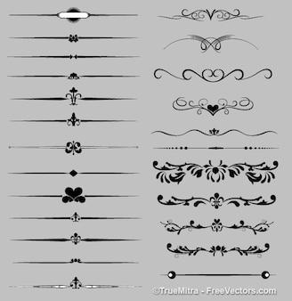 Ornamentos elegantes silhuetas coleção retro
