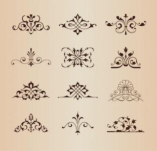 Ornamentos florais retro vector set