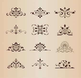 Ornamentos florais retro vector set