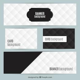 Os cartões e banners em cores preto e branco