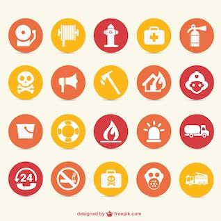 Os ícones de perigo de incêndio definir